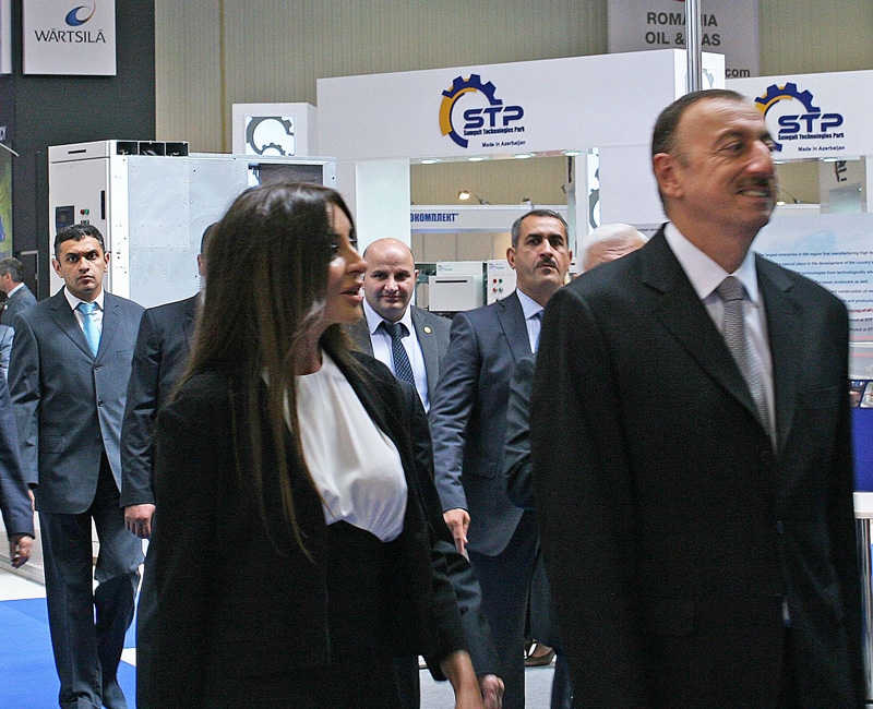 President Aliyev during his tour of the fair