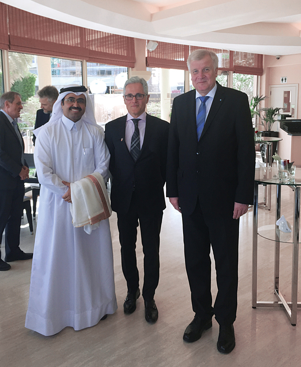 Left to right: H.E. Al Sada, Qatar's Minister of Energy and Industry, Philipp Bayat and the Bavarian Prime Minister Horst Seehofer